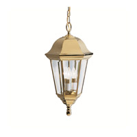 Kichler 9889PB Grove Mill 3 Light 12 inch Polished Brass Outdoor Pendant