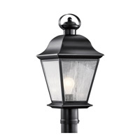 Kichler Lighting Mount Vernon 1 Light Post Lantern in Painted Black 9909BK
