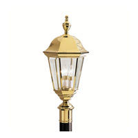 Kichler Lighting Grove Mill 3 Light Outdoor Post Lantern in Polished Brass 9989PB