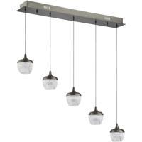 Kendal Lighting PF91-5LBR-BKS Arika LED 34 inch Black Stainless Pendant Ceiling Light