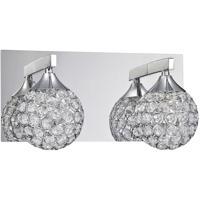 Kendal Lighting VF4200-2L-CH Crys 2 Light 12 inch Chrome Vanity Light Wall Light