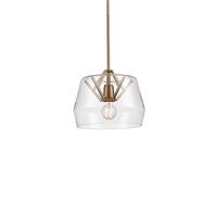 Kuzco Lighting 461412-CL/VB Signature 1 Light 12 inch Vintage Brass Pendant Ceiling Light