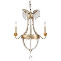 Lucas and McKearn CH1035-3 Louis 3 Light 20 inch Distressed Silver and Gold Chandelier Ceiling Light Flambeau