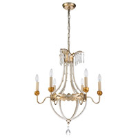 Lucas and McKearn CH1035-6 Louis 6 Light 25 inch Distressed Silver and Gold Chandelier Ceiling Light Flambeau