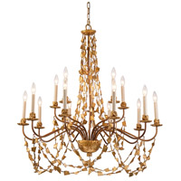 Lucas and McKearn CH1158-15 Mosaic 15 Light 37 inch Gold Leaf Chandelier Ceiling Light Flambeau