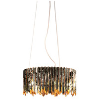 Lucas and McKearn CH9073 Peron 6 Light 24 inch Chrome/Gold Accents Chandelier Ceiling Light, Flambeau