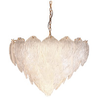 Lucas and McKearn CH9081-65 Acanthus 10 Light 24 inch Clear Textured Glass With Gold Chandelier Ceiling Light Flambeau