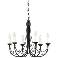 Lucas and McKearn EL/CB6 BLK Carisbrooke 6 Light Black Chandelier Ceiling Light, Elstead