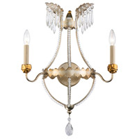 Lucas and McKearn SC1035-2 Louis 2 Light 8 inch Distressed Silver and Gold Wall Sconce Wall Light