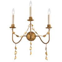 Lucas and McKearn SC1158-3 Mosaic 3 Light 10 inch Gold Leaf Wall Sconce Wall Light Flambeau