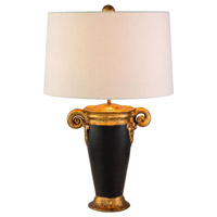 Lucas and McKearn TA1150 Gallier 25 inch 60 watt Black and Gold Table Lamp Portable Light Flambeau