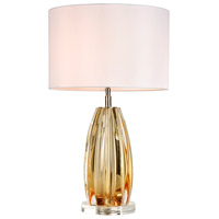 Lucas and McKearn TLG3119 Cognac 25 inch 100 watt Clear Amber Glass Table Lamp Portable Light