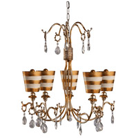 Tivoli 5 Light 30 inch Cream Patina With Gold And Silver Outdoor Chandelier, Flambeau