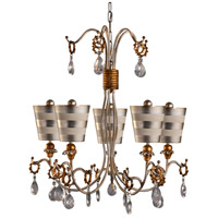 Tivoli 5 Light 30 inch Cream Patina With Silver And Gold Outdoor Chandelier, Flambeau