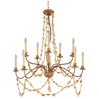 Mosaic 10 Light 37 inch Gold Leaf Outdoor Chandelier, Flambeau