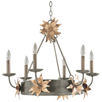 Simone 6 Light 27 inch Silver With Gold Leave Blossom Outdoor Chandelier, Flambeau
