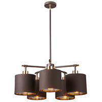 Balance 5 Light 22 inch Brown and Polished Brass Chandelier Ceiling Light, Elstead
