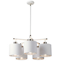 Lucas and McKearn EL/BALANCE5 W Balance 5 Light 22 inch White and Polished Nickel Chandelier Ceiling Light in White Metallic Inside, Elstead