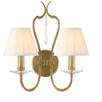 Pimlico 2 Light 14 inch Aged Brass Wall Sconce Wall Light, Elstead