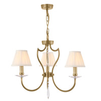 Lucas and McKearn EL/PM3 AB Pimlico 3 Light 17 inch Aged Brass Chandelier Ceiling Light, Elstead
