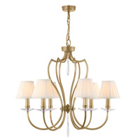 Pimlico 6 Light 26 inch Aged Brass Chandelier Ceiling Light, Elstead