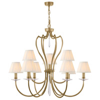 Pimlico 9 Light 34 inch Aged Brass Chandelier Ceiling Light, Elstead