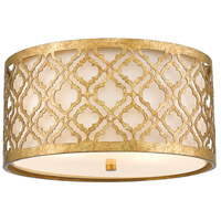 Arabella 2 Light 8 inch Distressed Gold Flush Mount Ceiling Light, Gilded Nola