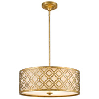 Arabella 3 Light 14 inch Distressed Gold Pendant Ceiling Light, Gilded Nola