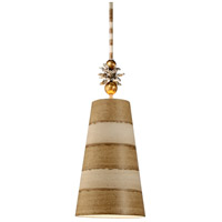 Anemone II 1 Light 9 inch Gold And Silver Leaf Pendant Ceiling Light, Flambeau