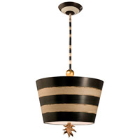 South Beach 1 Light 15 inch Hand-Painted Black And Cream Pendant Ceiling Light, Flambeau