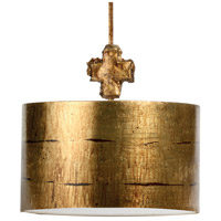 Fragment 1 Light 15 inch Gold Leaf And Glaze Pendant Ceiling Light, Flambeau