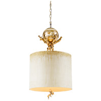 Trellis 1 Light 15 inch Putty Patina And Silver Leaf Pendant Ceiling Light, Flambeau