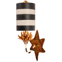 Audubon 1 Light 9 inch Black And Taupe With Gold And Silver Wall Sconce Wall Light, Flambeau
