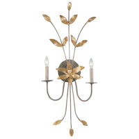 Simone 2 Light 17 inch Silver With Gold Leaf Blossom Wall Sconce Wall Light, Flambeau