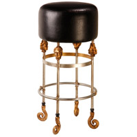 Armory 31 inch Chrome and Gold Bar Stool in Black, Flambeau