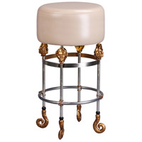Lucas and McKearn SI1050-1 Armory 31 inch Chrome and Gold Bar Stool in Putty, Flambeau