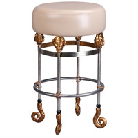 Lucas and McKearn SI1052 Armory 26 inch Chrome and Gold Bar Stool in Putty, Flambeau