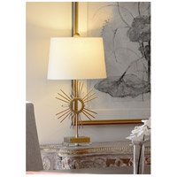 Sun King 31 inch 100 watt Distressed Gold Table Lamp Portable Light, Gilded Nola
