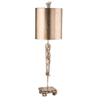 Caryatid 28 inch 60 watt Silver Leaf Table Lamp Portable Light, Flambeau