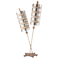 Nettle Luxe 40 inch 60 watt Gold Leafed With Cream Table Lamp Portable Light, Flambeau