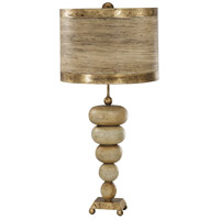 Retro 31 inch 60 watt Textured Cream and Gold Leaf Table Lamp Portable Light, Flambeau