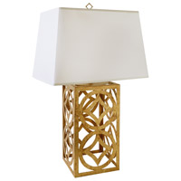 Lee Circle 30 inch 100 watt Distressed Gold Table Lamp Portable Light, Gilded Nola