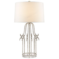 Stella 31 inch 100 watt Distressed Silver Table Lamp Portable Light, Gilded Nola