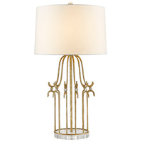 Stella 31 inch 100 watt Distressed Gold Table Lamp Portable Light, Gilded Nola