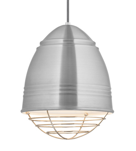 Lbl Lighting Lp876alpnled827 Loft Led 12 Inch Line Voltage Pendant Ceiling Light In Brushed Aluminum W White Interior Shade With Polished Nickel Cage