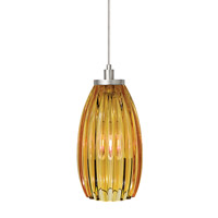 Flute 1 Light 4 inch Satin Nickel Low-Voltage Pendant Ceiling Light in Amber (Flute), Fusion Jack (no canopy)