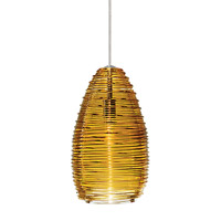 Vortex 1 Light 4 inch Satin Nickel Low-Voltage Pendant Ceiling Light in Amber (Vortex), Fusion Jack (no canopy)