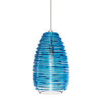 Vortex 1 Light 4 inch Satin Nickel Low-Voltage Pendant Ceiling Light in Blue (Vortex), Fusion Jack (no canopy)
