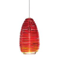 Vortex 1 Light 4 inch Satin Nickel Low-Voltage Pendant Ceiling Light in Red (Vortex), Fusion Jack (no canopy)