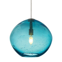 LBL Lighting HS506AQSC1B35FSJ Isla 1 Light 7 inch Satin Nickel Low-Voltage Mini Pendant Ceiling Light in Aqua (Isla), Fusion Jack (no canopy)
